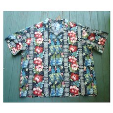 RJC Fabulous Hibiscus and Ukulele Print Hawaiian Aloha Surfer Shirt 4XL