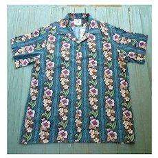 Hilo Hattie Tropical Flowers and Foliage Print Hawaiian Aloha Surfer Shirt  2XL