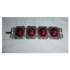 Huge Striated Red Cabochons Set in Filigree Bracelet