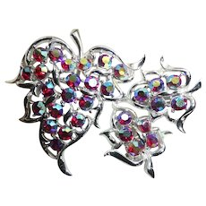 Aurora Borealis Sarah Coventry Brooch and Necklace Set