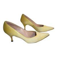 Yellow Satin Pair of Evening Pumps Stiletto Heels Vintage 1960s