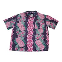 Vintage Steve and Barry's Label Hawaiian Shirt Lei Print Size 3X Large