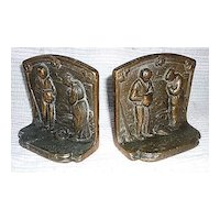 The Angelus by Millet Bronzed Bookends