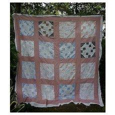 Prairie Queen Nine Patch Patchwork Quilt Top