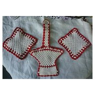 Red and White Crochet Flower Basket and  Pot Holders Set