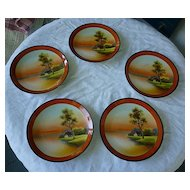 Five Noritake Hand Painted Tree in the Meadow Plates