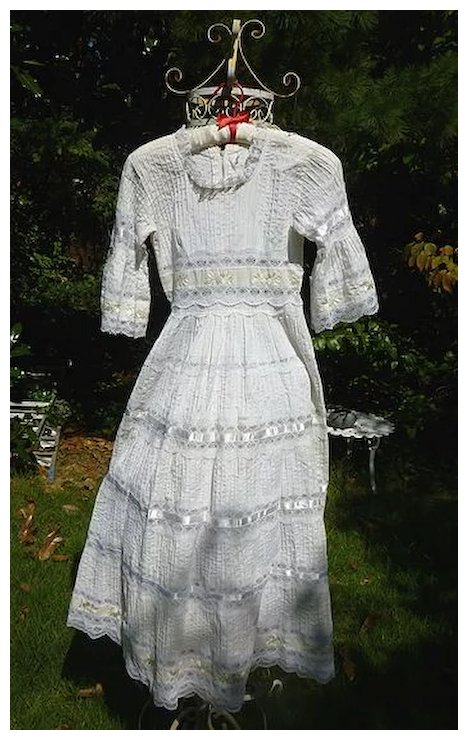 Tiny Tucks Ribbons and Lace Mexican Wedding Dress Vintage 1960\'s ...