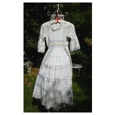 Tiny Tucks Ribbons and Lace Mexican Wedding Dress Vintage 1960's