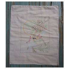 Arts & Crafts Love Birds Pine Embroidered Linen Pillow Sham