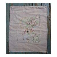 Arts & Crafts Love Birds Pine Embroidered Linen Pillow Sham
