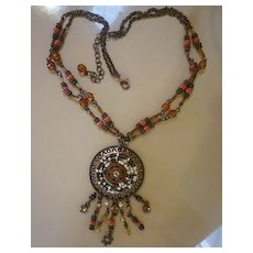 Avon NR Coppertone Beaded Medallion Necklace with Dangles