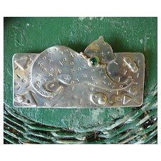Deborah Roberts Signed Silvery XOXO Cat Brooch Pin