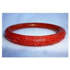 Chinese Red Bakelite Cinnabar Style Bangle Bracelet