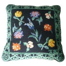 Garden Flowers Wool Needlepoint Pillow