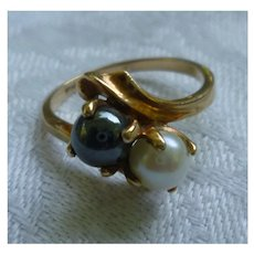 Black and White Pearls 10K Gold Ring