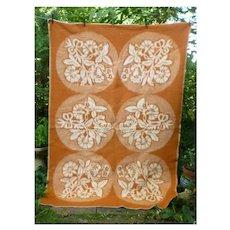 Flowers and Leaves Medallions Reversible Woven Plush Vintage Wool Blanket