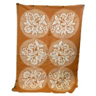 Flowers and Leaves Medallions Reversible Woven Plush Vintage Wool Blanket