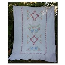 Plush Multicolor Flowers on White Vintage Chenille Bedspread for Crafting