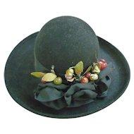 Elaborate Bows and Berries Trim Vintage Kathy Jeanne Wool Hat