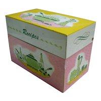 Pink Yellow Green 1950's Kitchen Recipes Box