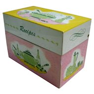 Pink Yellow Green 1950's Kitchen Recipes Box