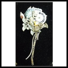 Cupid Watch Parts Flowers Comedy Mask Collage Steampunk Brooch