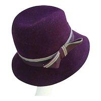 Mr K Purple Sleek Ribbon Trim Vintage Wool Felt Hat