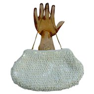 Sparkling Beaded and Sequins White Satin Evening Bag Swinging Loops Pattern