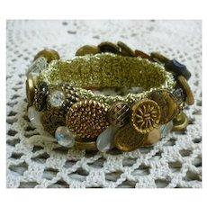 Vintage Buttons Bracelet on Gold Lame Band