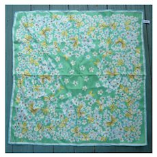 Vintage Vera Butterflies and Flowers Scarf Yellow Green Blue White