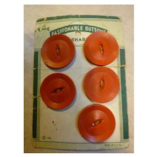 Five Le Chic Red Ribbed Buttons on Card