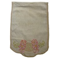 Pink Flowers Light Green Leaves Arts & Crafts Embroidery Linen Runner