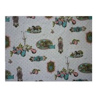 Charming Old Fashioned Scenes Horses Fruit Candles Vintage Decorator Fabric 2 2/3 Yds