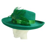 Sequins and Feathers Trim Vintage Green Wool Felt Hat