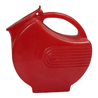 Fun Vintage Red Plastic Disc Pitcher with Hinged Lid