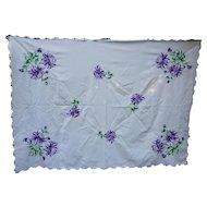 Lavishly Embroidered Purple Flowers Tablecloth