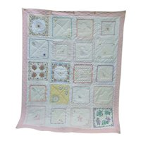 Lovely Quilt Hand Embroidered and Appliqued With Vintage Hankies Signed and Dated