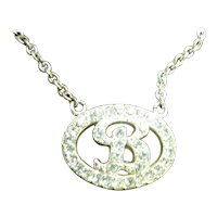Initial B Rhinestones Pendant on Silver Tone Chain Necklace by Avon