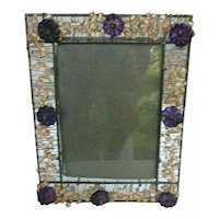 Wire Beads and Rosettes Metal Picture Frame