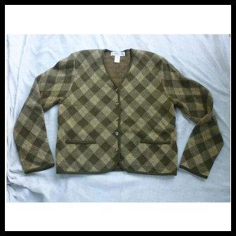 Merino Wool Argyle Ladies Sweater Jacket Jones NY