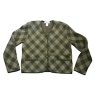 Merino Wool Argyle Ladies Sweater Jacket Jones NY