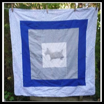 Sweet Scottie Dog with Gingham and Calico Comfort Quilt