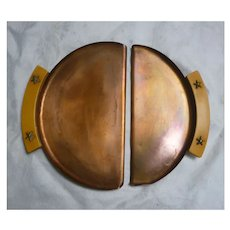 Nice Vintage 1930's Chase Copper Crumber Tray Set with Bakelite Handles