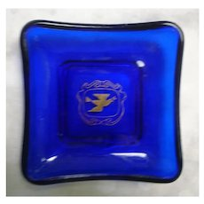 Cobalt Blue French Trinket Tray with Peace Symbol Bird