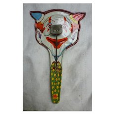 Vintage Tin Horned Clown Noisemaker Clapper US Metal Toy Mfg Co Pan Style Litho Party Clacker