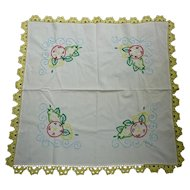 Colorful Fruit and Leaves Embroidered Lovely White Linen Tablecloth