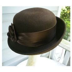 Vintage Brown Wool with Rosette Amanda Smith Italy Upturned Brim Hat