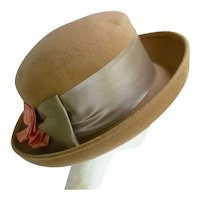 Vintage Tan Wool with Rosette Amanda Smith Italy Upturned Brim Hat