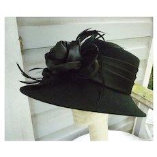 Very Fancy Trimmed Vintage Black Wool Hat Label Bené