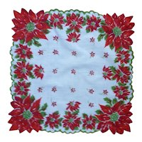 Very Pretty Poinsettias Christmas Handkerchief